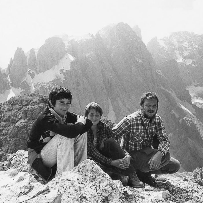Nik Barte on Mount Mulaz (2903 m, Pale di San Martino Group, Dolomites) with his Father and his Brother.